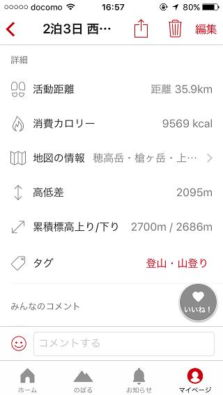 YAMAP 歩いた距離 標高差 時間