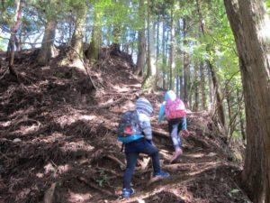 登山中の子供たち